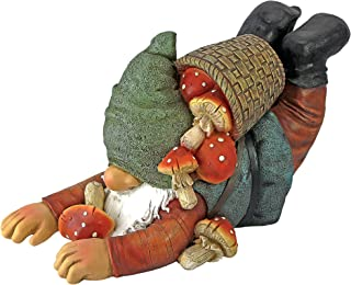 Garden Gnome Statue - Clumsy Karl the Mushroom Hunter Garden Gnome - Lawn Gnome