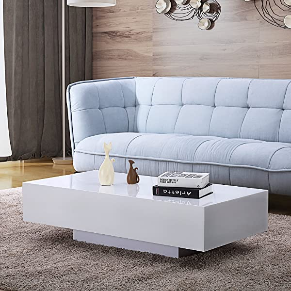 Mecor High Gloss White Rectangle Coffee Table Modern Side End Sofa Table With 1 Layer Living Room Home Office Furniture