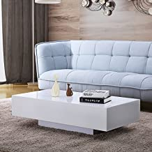 Mecor High Gloss White Rectangle Coffee Table, Modern Side/End/Sofa Table with 1 Layer, Living Room Home Office Furniture