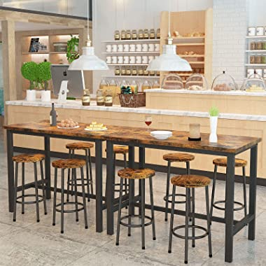 AWQM Bar Table and Chairs Set Industrial Counter Height Pub Table with 4 Chairs Bar Table Set 5 Pieces Dining Table Set Home