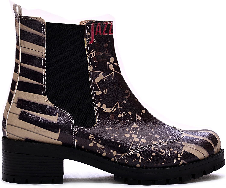 GOBY Women's shoes Piano Keys Pattern Chelsea Boots LAS107