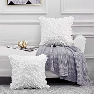 Leeden Throw Pillow Covers 18 x 18 Square Set of 2 Decorative Pillowcase Cusion Cases for Sofa Couch Bed Bedroom Room Chair Car Home Décor Pillow Covers Ultra Soft White,18x18 inch(45x45cm)