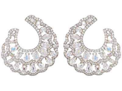 Nina Layered Front To Back Hoop Earrings (Rhodium/White CZ) Earring