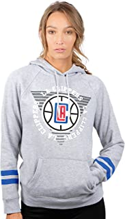 Ultra Game NBA Women's Soft Fleece Pullover Hoodie Sweatshirt with Varsity Stripe