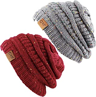 The Hat Depot Winter Multi Color Ribbed Beanie – Soft Stretch Cable Knit - Warm Skull Cap