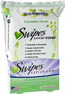 Swipes Lovin All Natural Intimate Feminine Wipes   Aloe & Vitamin E, Free of Chlorine & Dyes, pH-Balanced & Flushable   Cucumber, 42 Count, 1 Pack