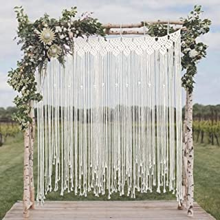 Willtos Large Macrame Backdrop - Boho Style Macrame Wedding Backdrop for Ceremony and Reception - 57