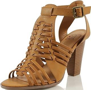 Delcious Women's Aliya Strappy Gladiator Open Toe Stacked Heel Sandal