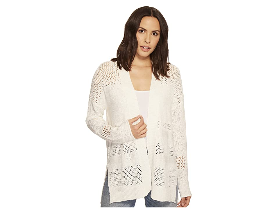 Three Dots Mesh Stitch Cardigan (White) Women