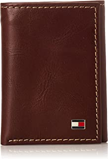 Tommy Hilfiger Men's Genuine Leather Trifold Wallet With ID Window, Credit Card Pockets