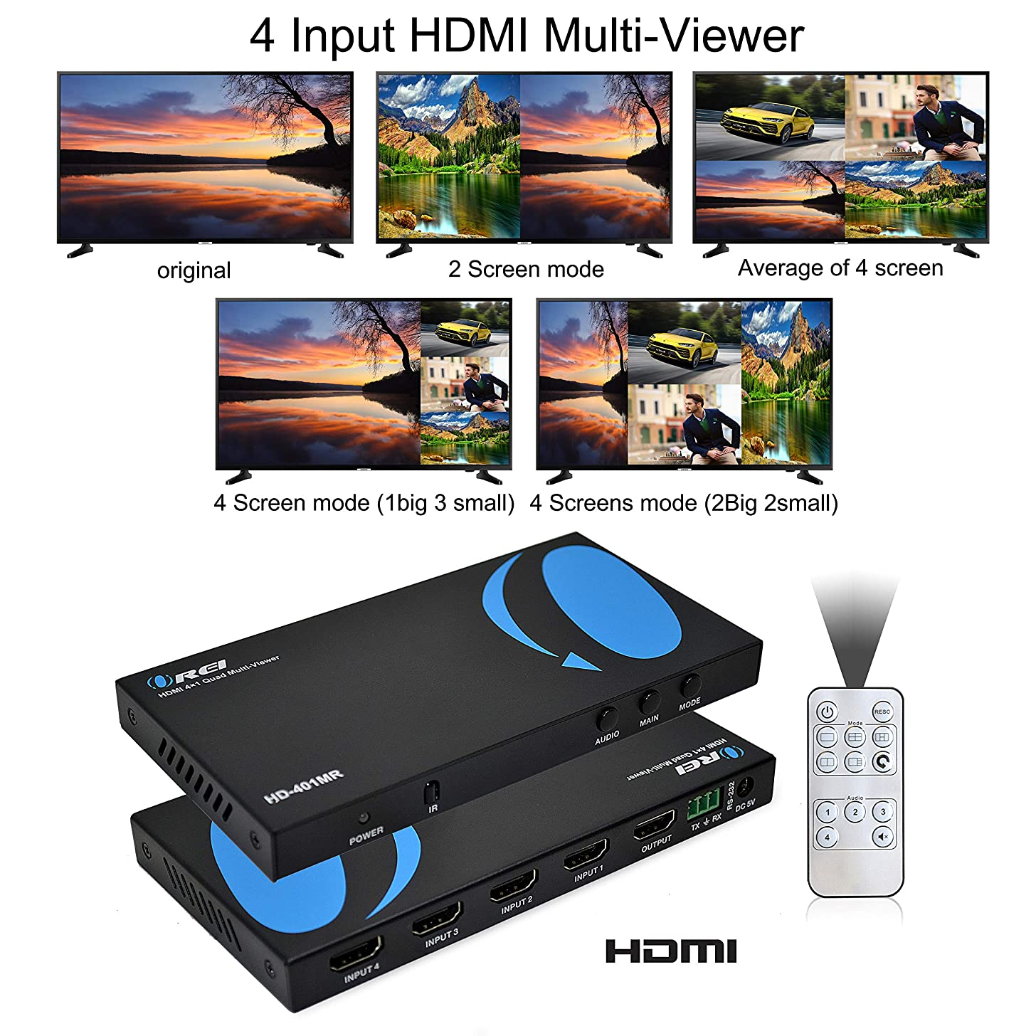 Orei Quad Multi-Viewer 4x1 HDMI Switcher 4 Ports Seamless Switch and IR Remote Support 1080P for PS4/PC/Stb/DVD/Security Camera
