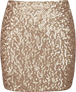 b5e18d5d68 PrettyGuide Women's Sequin Skirt Stretchy Bodycon Sparkle Mini Skirt Night  Out