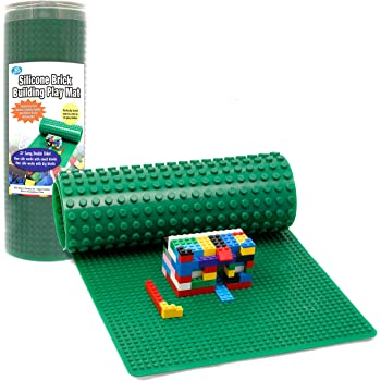 """Brick Building Play Mat by SCS - Rollable, 2-Sided Silicone Playmat - 32"""" Long for Activity Tables (Patent Pending)"""