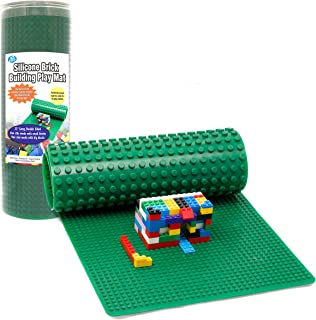 Brick Building Play Mat by SCS - Rollable, 2-Sided Silicone Playmat - 32