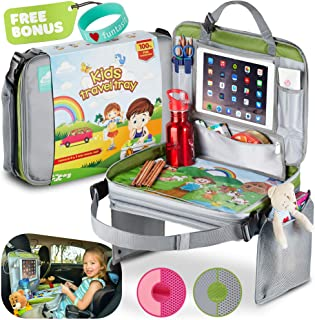 funtasit Kids Travel Tray All-in-One Carry Bag, Play Table, Storage and Tablet Holder with Detachable Back - Side Pockets - Sturdy, Leakproof, Easy Clean. Gray/Silver/Green. Bonus Bracelet