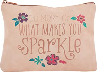 Do More What Makes You Sparkle Floral Blush 10 x 7.5 Inch Vegan Leather Cosmetic Bag