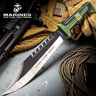 USMC Marine Force Recon Jungle Operator Bowie Knife and Sheath - Stainless Steel Blade, Sawback Serrations, Rubberized Handle - Length 15 1/2