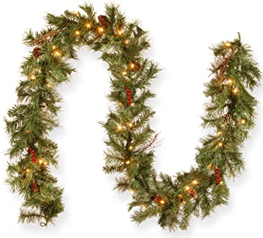 National Tree Company Pre-lit Artificial Christmas Garland | Flocked with Mixed Decorations and Lights | Glistening Pine - 9