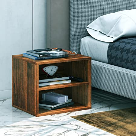 Klaxon Pansy Two Drawer Storage Cabinet with Fabric Box (Walnut and Black)