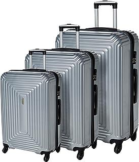 حقيبة سفر ترافل فيجن ايه بي اس بحواف صلبة طقم من 3 قطع، فضي رمادي