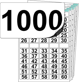 Premium Plastic Number Stickers 1 to 1000 (+ 100 Blank Spares). Ultra Durable Label Stock. Suitable for Outdoor Use. 100% Waterproof