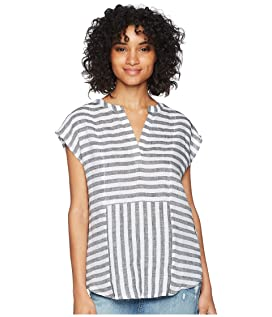 Cap Sleeve Resort Stripe Linen Blouse