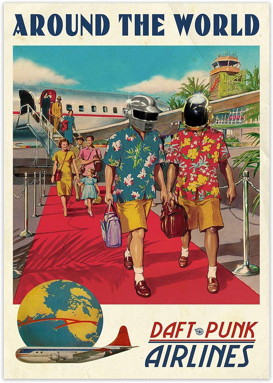 Daft Punk Around The World Poster Musicale Retrò Con Cornice Musica  Decorazione Della Parete Stampa Galleria Arte Da Parete Con Cornice - A4  Solo Stampa: Amazon.it: Amazon.it