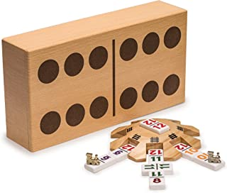 Yellow Mountain Imports - Complete Mexican Train Dominoes Set with Double 12 Dominoes Featuring Numerals, Wooden Hub, Train Markers, and Scorepad