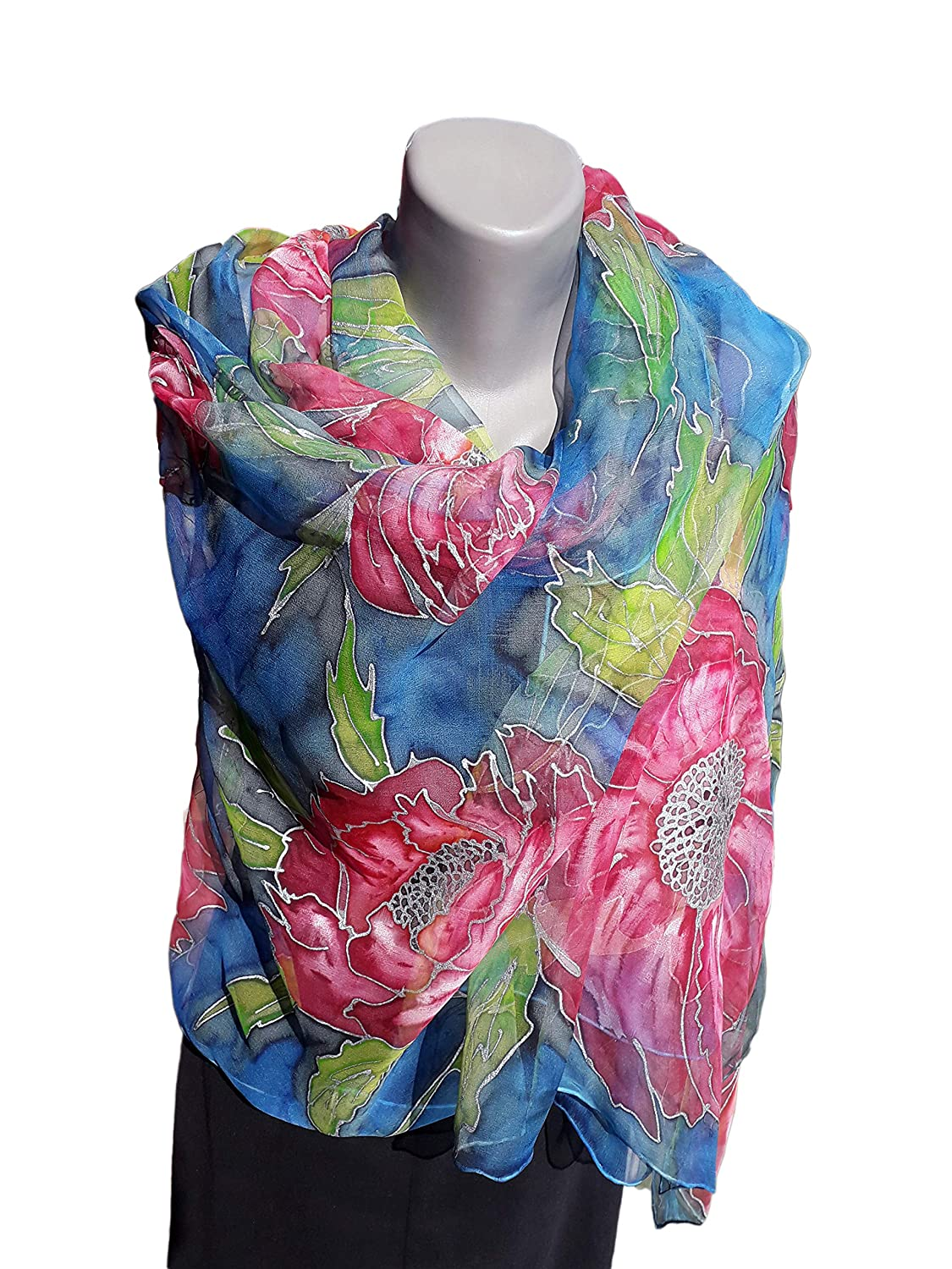 High quality new MY RED GLAMOUR Hand-Painted Silk Scarf Pure New popularity Woman S