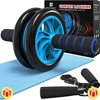 Alamedin Sports 3-in-1 AB Wheel Roller Kit AB Roller Pro with Jump Rope and Knee Mat, Best Workout Equipment in Home Gym Fitness Workout Kit for Men and Women.