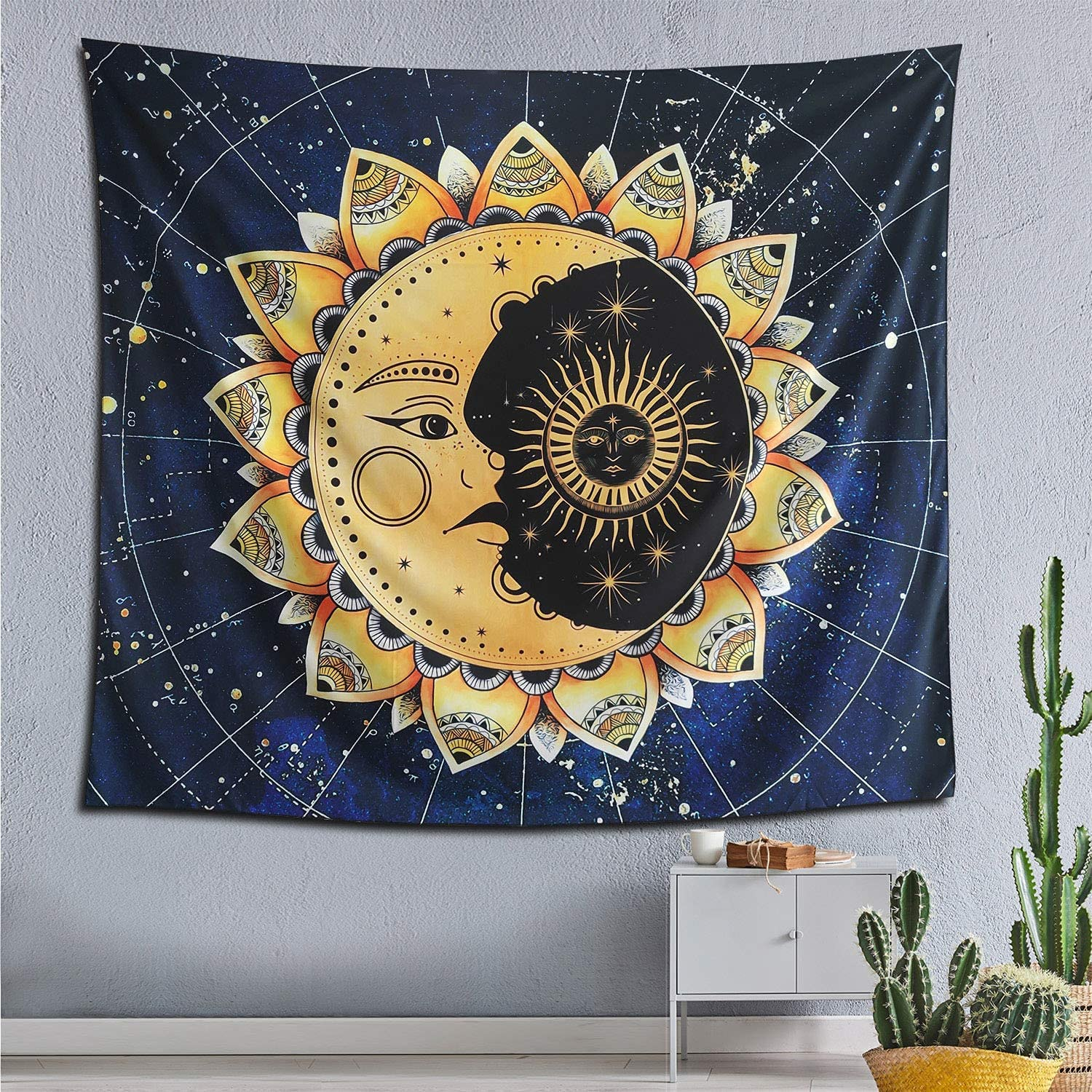 Moon Tapestry blue yellow 5 ☆ popular Max 87% OFF Mandala St Pattern Mysterious
