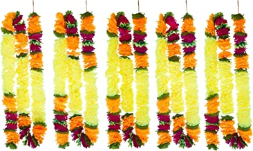 R and D Handicrafts 5 Pack Artificial Yellow Fancy Fusion Flower Garlands 5ft Long-The Perfect Decoration for Indian Themed Events Mexican Fiestas or Any Celebration Indoors or Outdoors (Yellow)