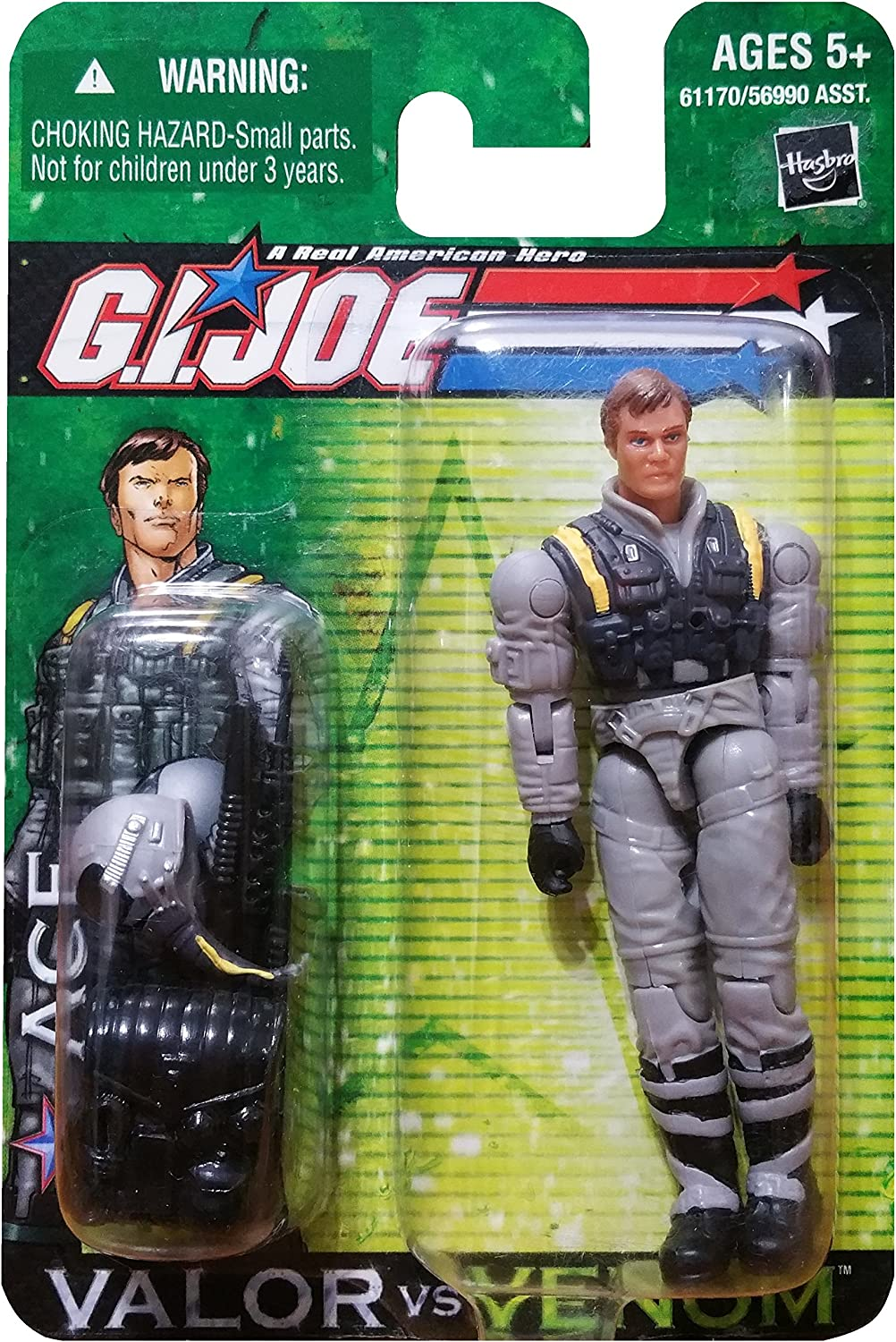 G.I. Joe A Real American Hero Valor Versus Venom 4 Inch Action Figure  ACE with Backpack, Pilot Helmet, Pistol and Assault Rifle