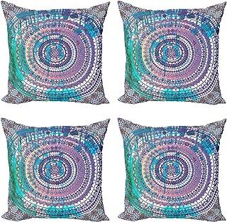 ABAKUHAUS Étnico Set de 4 Fundas para Cojín, Mandala del Este, Estampado Digital en Ambos Lados y Cremallera, 40 cm x 40 cm, Lila y Azul