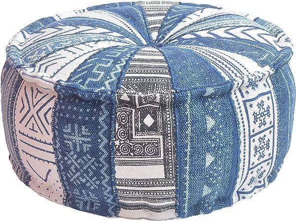 MARUDHARA Pizza Slice Stuffed Pouf Kilim Cotton 22 X10 Round POUFFE Dhurrie Pouf Ottoman Extra Sitting Floor Cushion