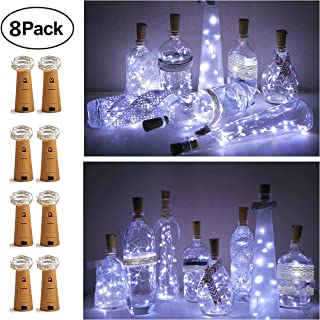 8 Pack 20 LED Wine Bottle Cork Lights, Fairy Mini String Lights Copper Wire, Battery Operated Starry Lights for DIY, Christmas, Halloween, Wedding, Party, Indoor&Outdoor (8 Pack-20 LED, Cool White)