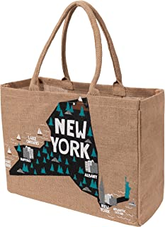 KAF Home Your Favorite State Jute Market Bag with Handles Reusable Grocery, Wine Bottles (New York)