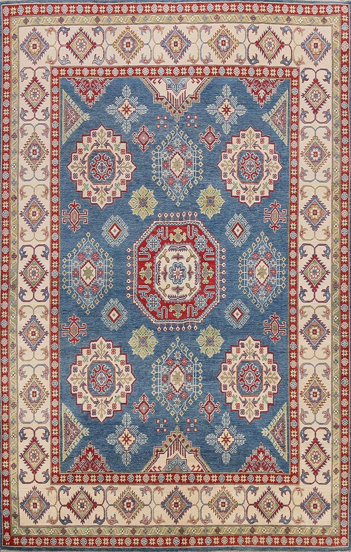 Geometric Blue Kazak lowest price Oriental Max 90% OFF Area Wool Rug Hand-Knotted Carpet