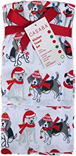 Casaba Holiday Dogs 5 Piece Kitchen Towel Set - 3 Kitchen Towels + 2 Bar Mops