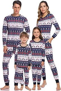 Hawiton Family Christmas Pajamas Set Matching Xmas Deer Sleepwear Dad Mom Kids PJs