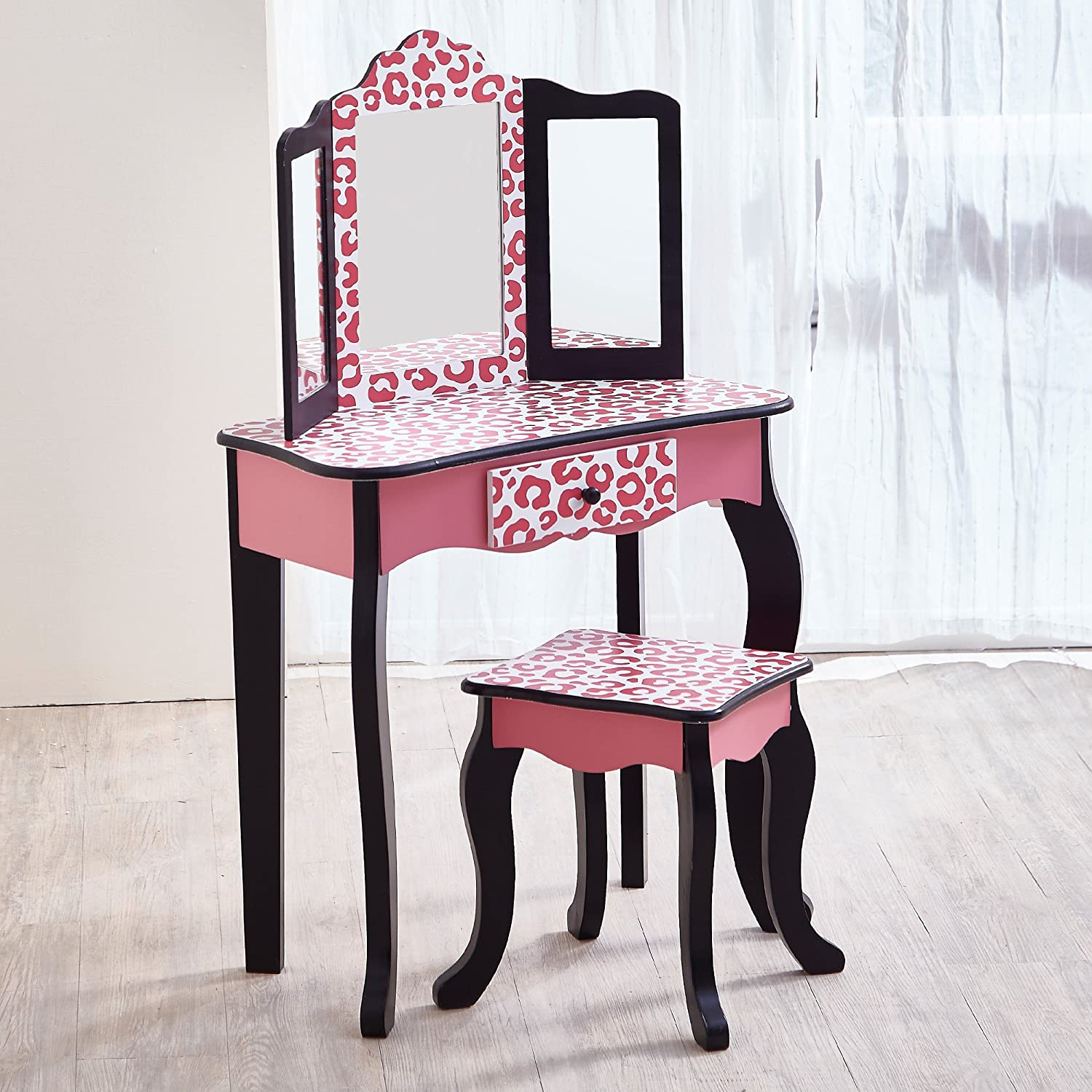 Teamson Kids  Fashion Prints Girls Vanity Table and Stool Set with Mirror  Leopard (Pink  Black)