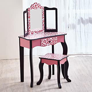 Teamson Kids Pretend Play Kids Vanity Table and Chair Vanity Set with Mirror Makeup Dressing Table with Drawer Fashion Leopard Prints Gisele Play Vanity Set Pink Black