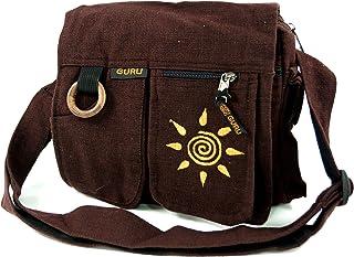 GURU SHOP Schultertasche, Hippie Tasche Sonne - Braun, Herren/Damen, Baumwolle, 23x25x7 cm, Alternative Umhängetasche, Handtasche aus Stoff