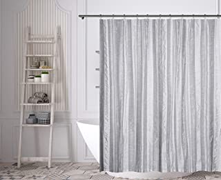 Home Maison - Rhett Striped Faux Linen Textured Mildew Resistant Fabric Shower Curtain Liner For Bathroom Waterproof | Water Repellent & Antibacterial - Assorted Colors - (72 X 72 Inch - Grey & White)