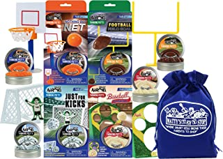 Crazy Aaron's Tabletop Sports Putty (30g Each) Nothing But Net Basketball, Football Field Goal, Just for Kicks Soccer & Ba...