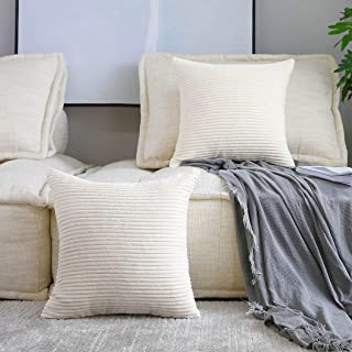 Best Home Brilliant Decorative Accent Pillow Covers Case Striped Corduroy Plush Velvet Cushion Cover for Couch, Set of 2, Cream Cheese, 18x18 inches (45cm) Reviews