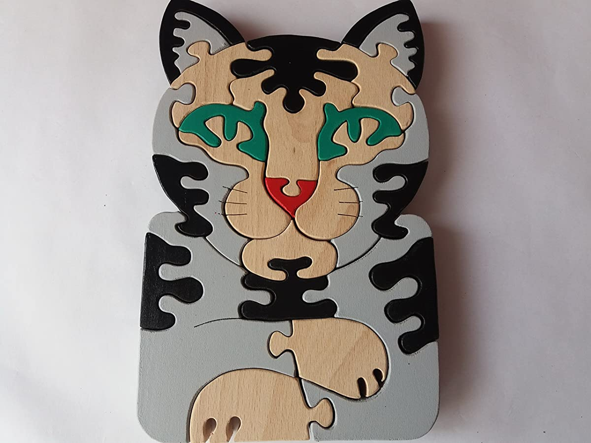 Wooden puzzle cat handmade wild cat animal feline pussy cat massive beech wood toy gift for children toy domestic cat pet
