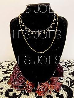 Collana 2 giri in ottone con catena argento e oro e cuori pendenti