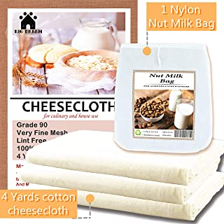 Organic Cheesecloth 36 sq.ft-with 1Nylon Nut Milk Bag,Reusable,Cheesecloth for Cooking,Thicken Grade 90 Muslin Cloth,Unbleached Cheesecloth Strainer(4Y+1 Nut Milk Bag)