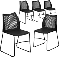 Flash Furniture 5 Pk. HERCULES Series 661 lb. Capacity Black Sled Base Stack Chair with Air-Vent Back -